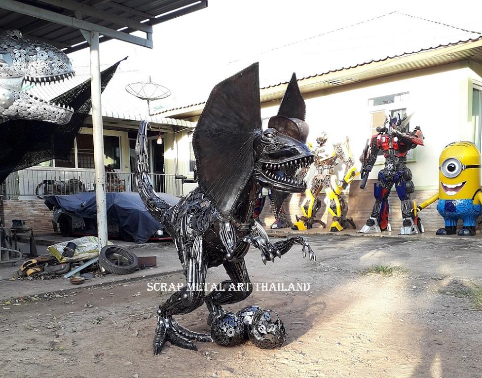 Dilophosaurus Dino Statue Sculpture for sale, Life Size Metal Animal Sculpture Art