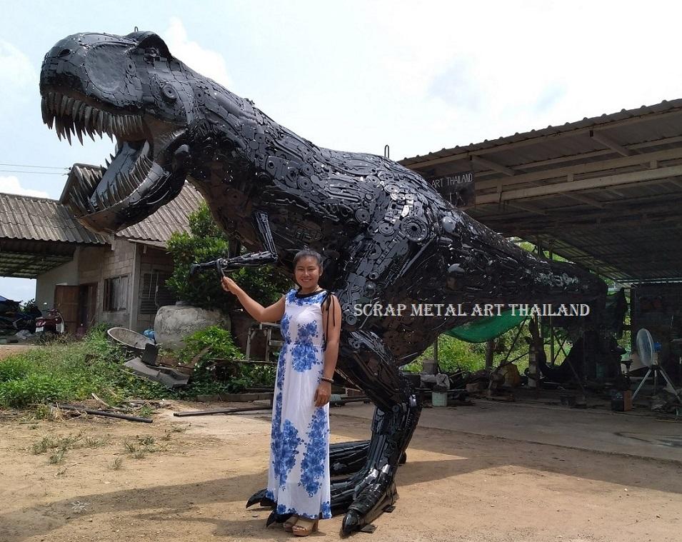 Life size Dino T-Rex Statue for sale, metal Dinosaur Sculpture Art