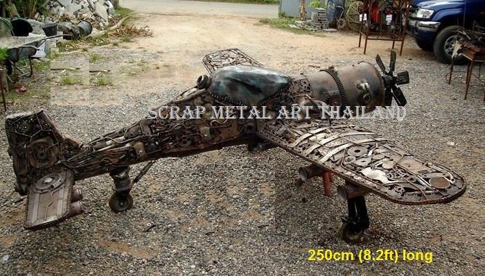 airplane spitfire model from scrap metal