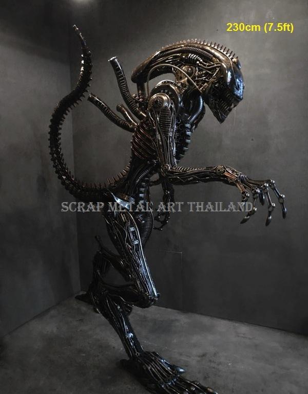 alien figure statue full life size scrap metal art for sale