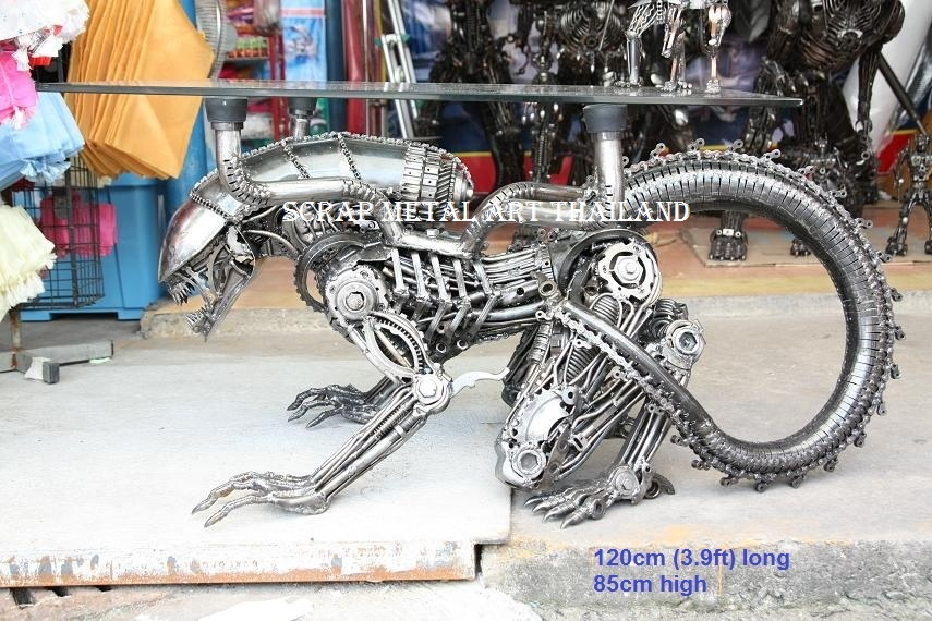 Scrap Metal Art Furniture Alien Table Spiderman Table
