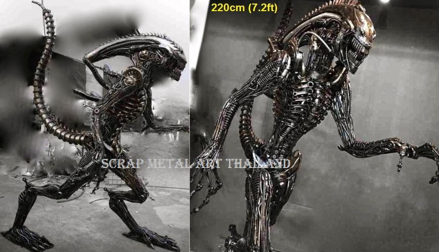 Alien Statue for sale Life Size Figure Sculpture Metal Replica for sale, made in Thailand