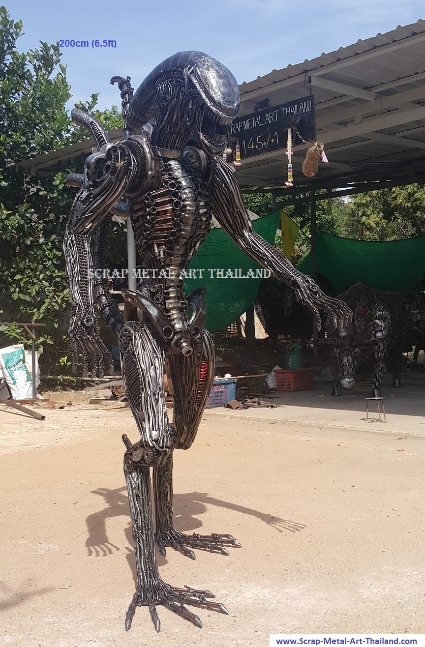alien statue/sculpture, lifesize scrap metal art