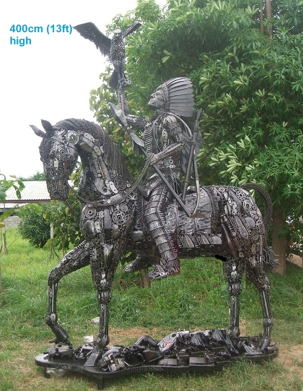 american indian statue on horseback life size scrap metal art for sale