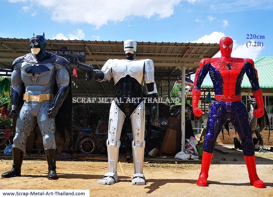 Batman Robocop Spiderman statue sculpture for sale, life size scrap metal superhero figures