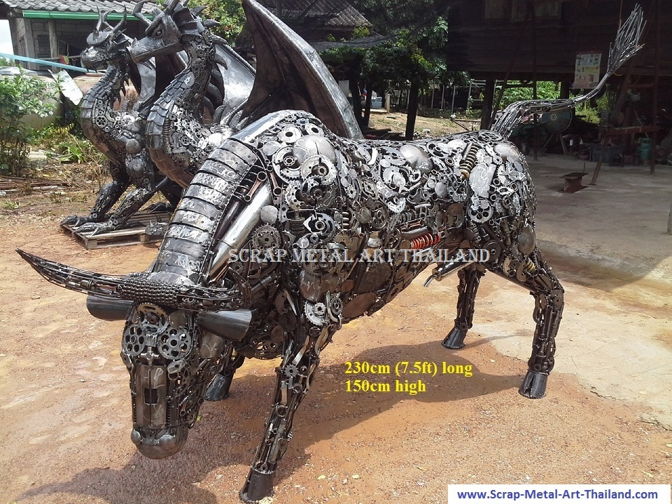 metal bull sculpture, lifesize scrap metal art