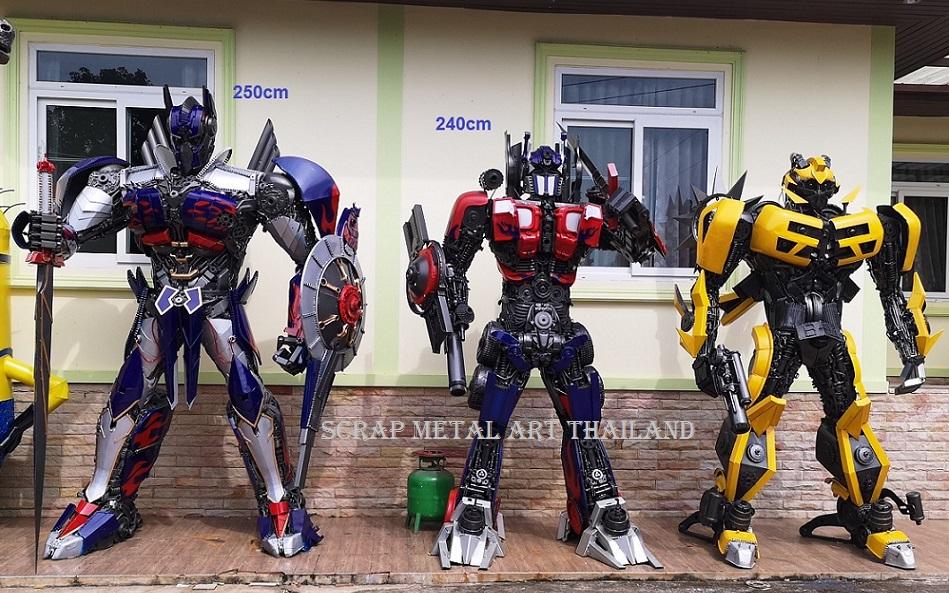 bumblebee and optimus prime transformer statue, life size scrap metal art