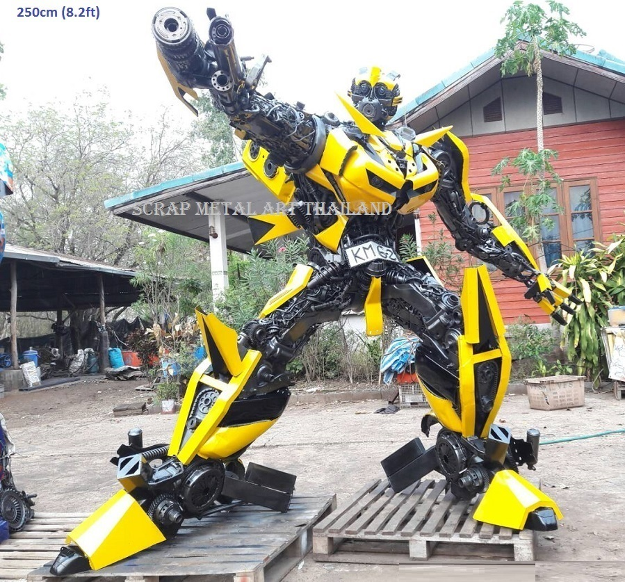 bumblebee transformers statue, in fighting pose, full life size