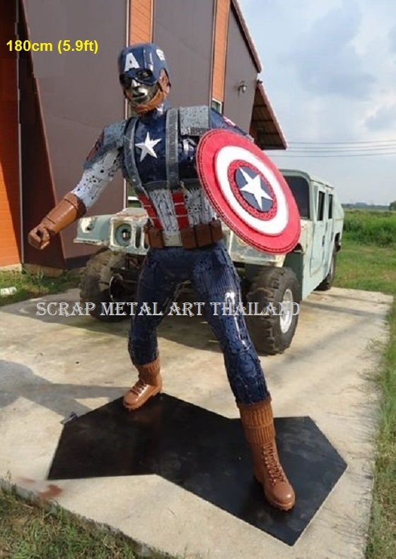 captain america figure statue sculpture full life size scrap metal art