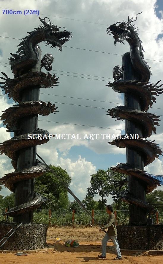 Giant chinese dragon pillar statue scrap metal art for sale