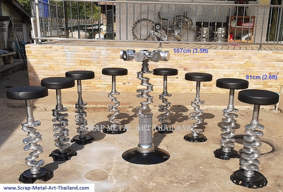 crankshaft and pistons table and stools scrap metal art