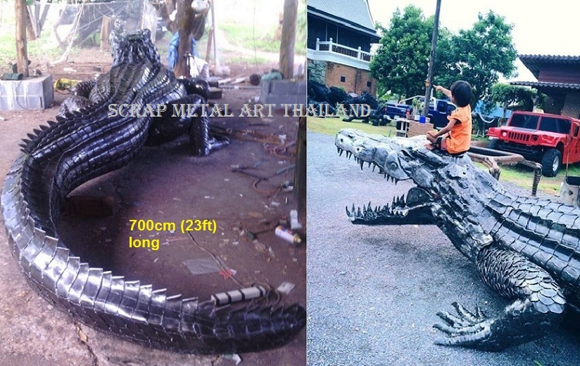 crocodile sculpture, life size metal art