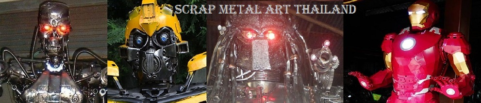 customized scrap metal statues with LED's