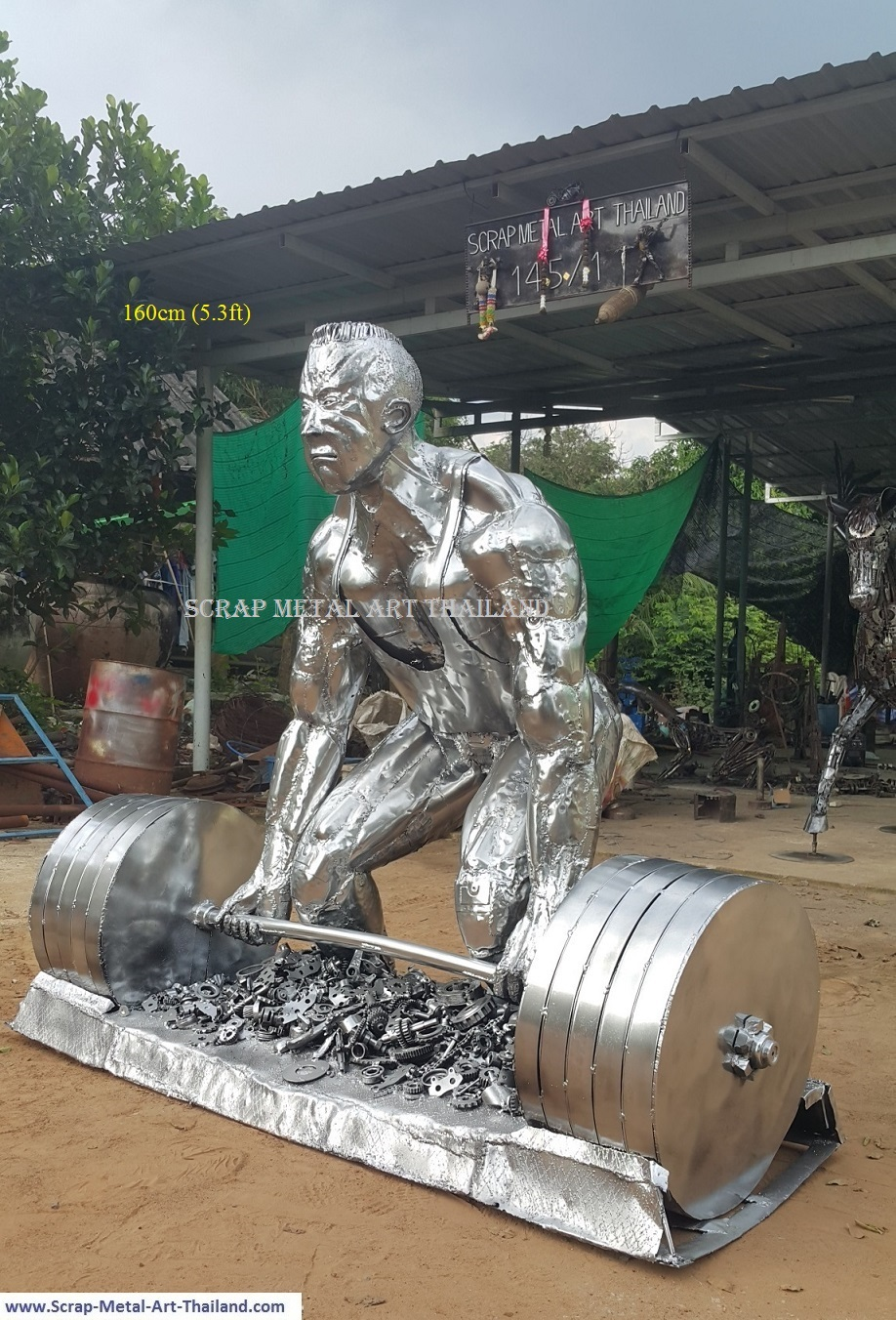 Deadlifter statue, Weightlifter sculpture, life size scrap metal art from Thailand