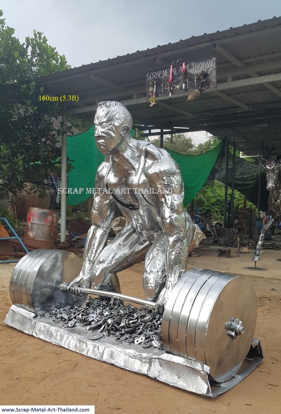 deadlifter statue, weightlifter sculpture, life size scrap metal art