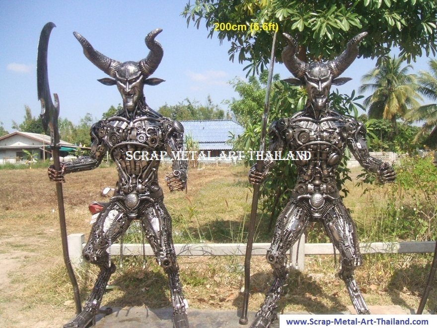 devil figure statue scrap metal art life full size for sale