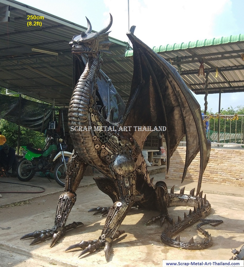 Dragon Sculpture Statue for sale, Life Size Metal Animal Art, from Thailand