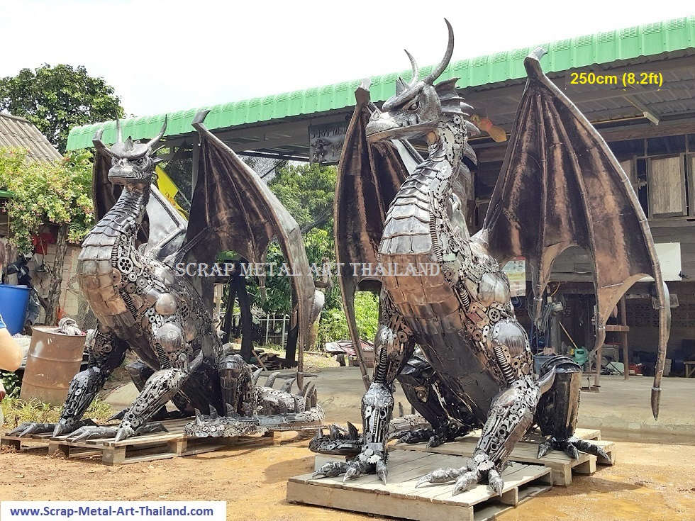 metal dragon statues, mirror twins, lifesize scrap metal art