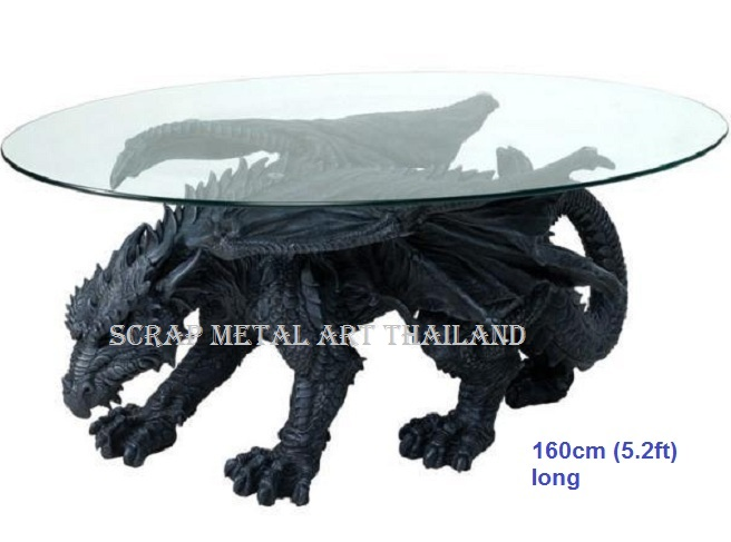 dragon table scrap metal art for sale