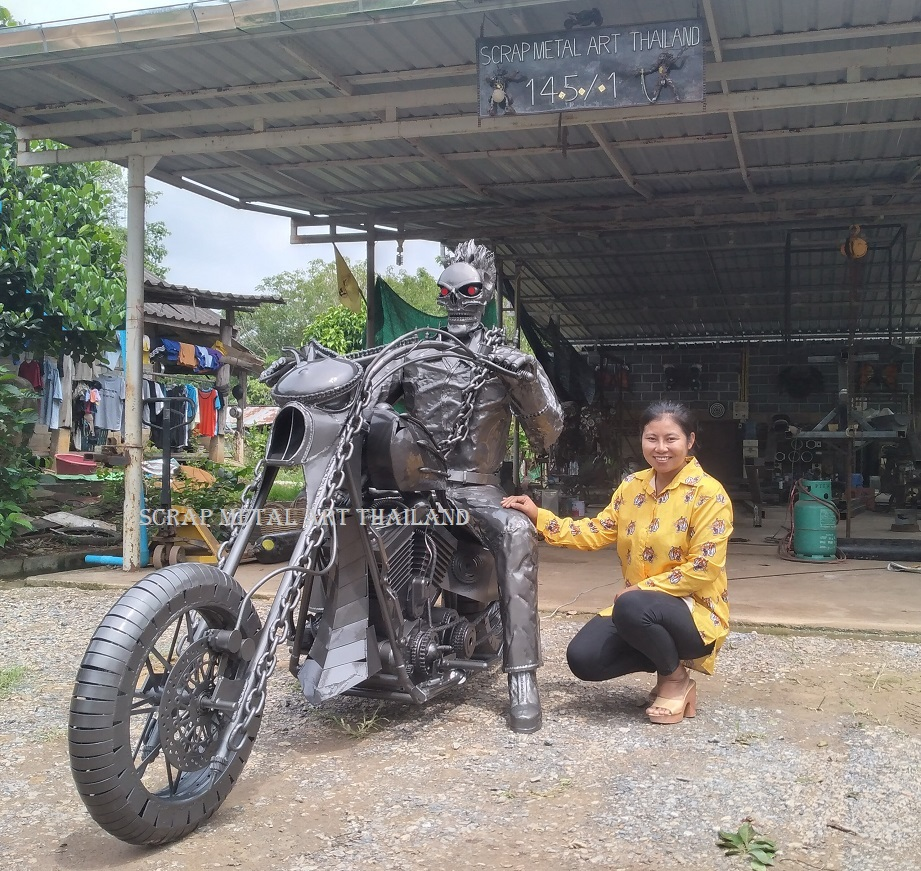 ghostrider statue on chopper full life size scrap metal art for sale