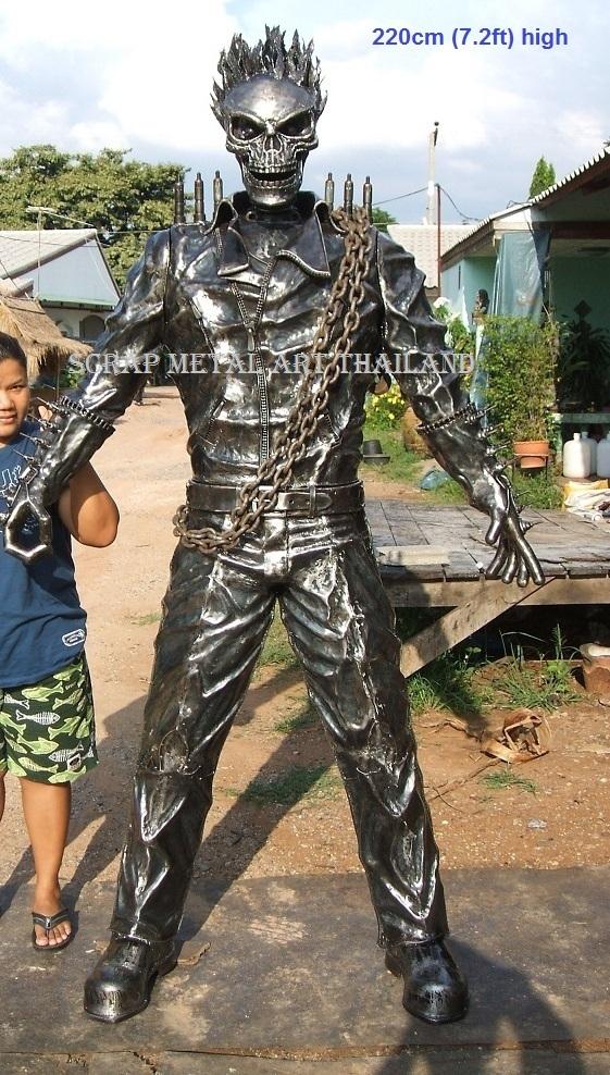 ghostrider figure statue sculpture full life size scrap metal art for sale