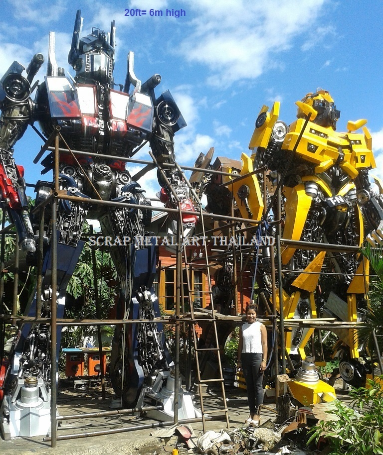 Giant Transformers Bumblebee Optimus Prime Figures statues stillwater ok oklahoma 6 meter 21feet 21ft