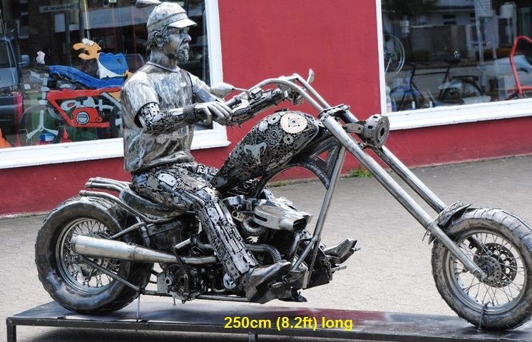 harley biker sculpture, scrap metal art, life size