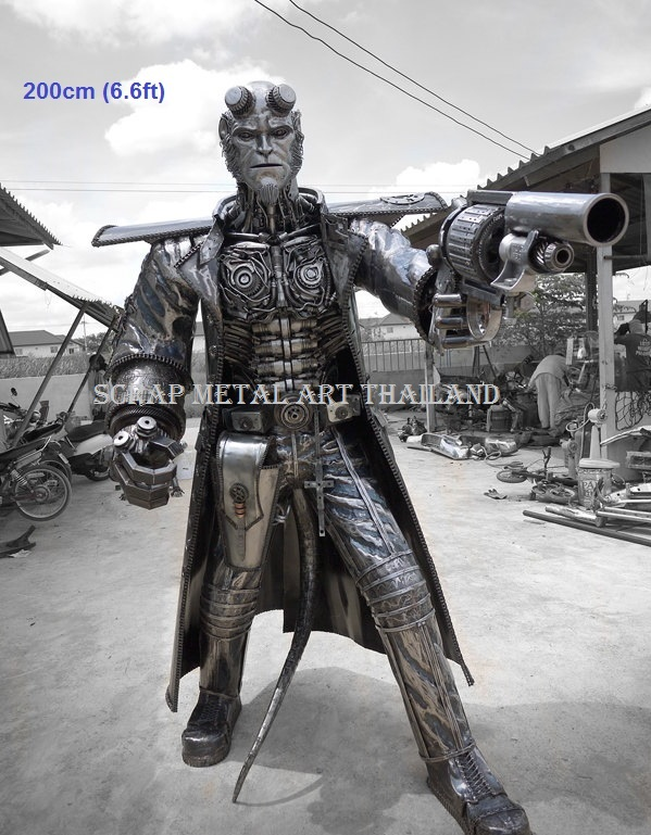 hellboy figure statue sculpture full life size scrap metal art for sale
