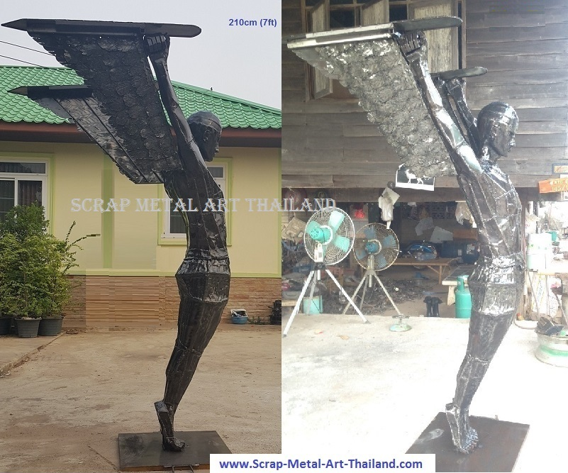 Icarus statue sculpture for sale, cubist style, life size scrap metal art