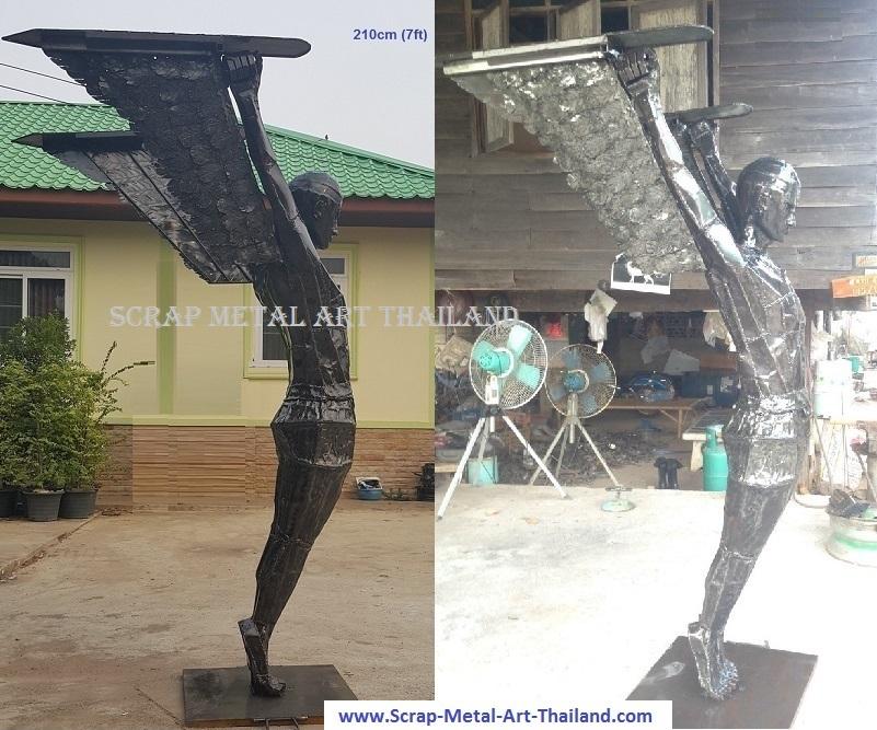 icarus statue sculpture life size scrap metal art