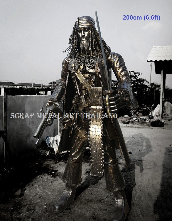 jack sparrow figure statue sculpture full life size scrap metal art for sale