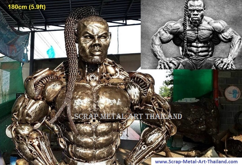 kai greene bodybuilder figure life size scrap metal art