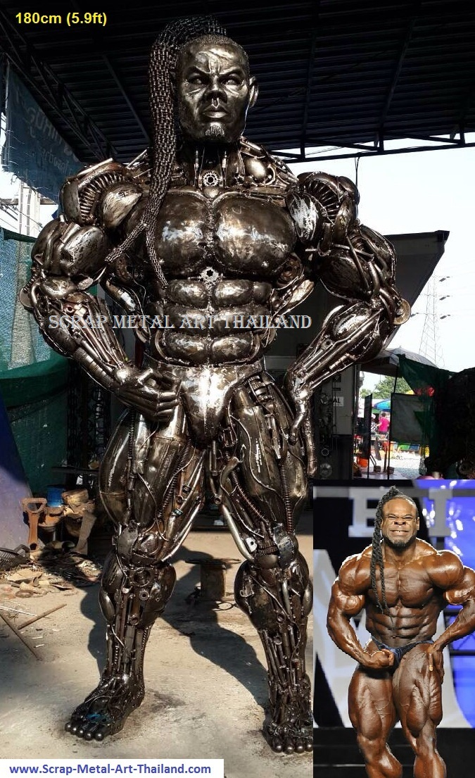 kai greene bodybuilder sculpture real life size scrap metal art