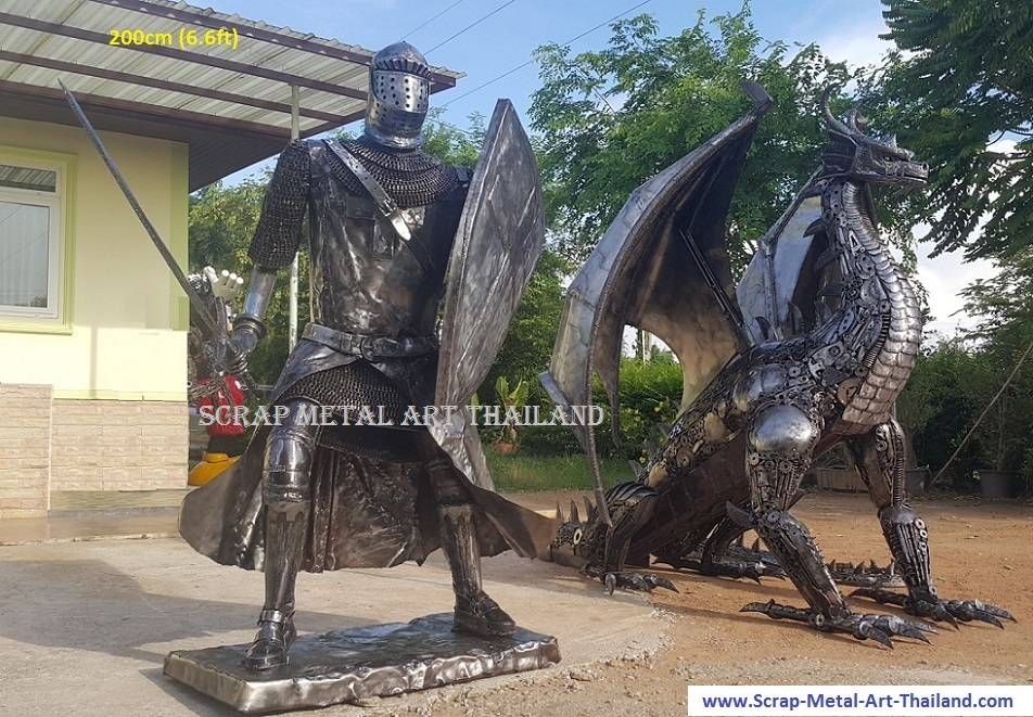 Knight statue for sale, lifesize medieval crusader sculpture, with dragon, scrap metal art from Thailand