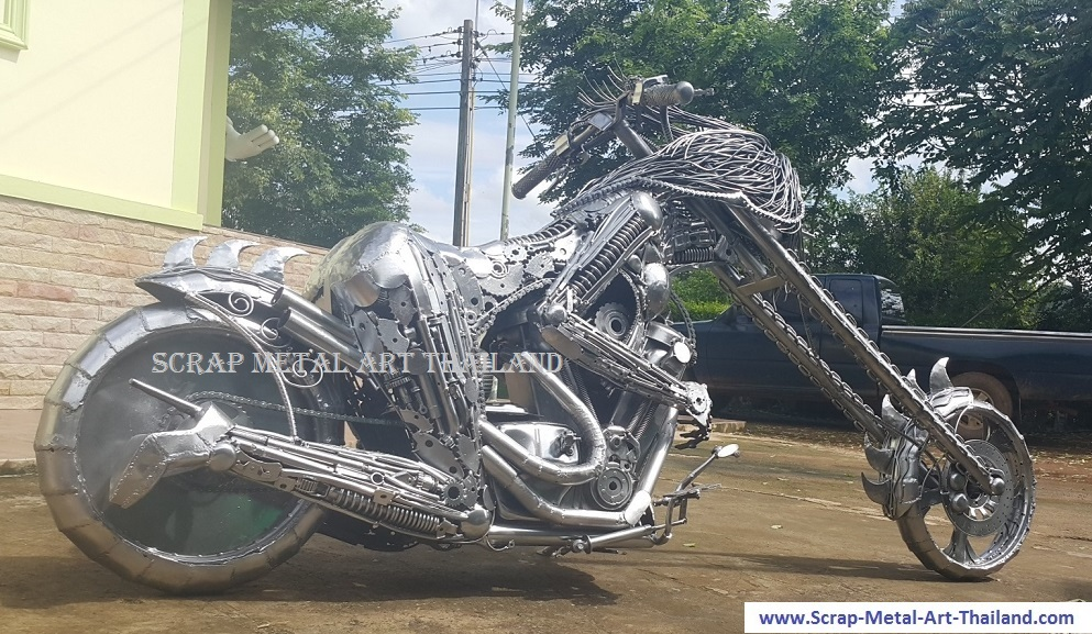 ladychopper superbike, scrap metal art, life size