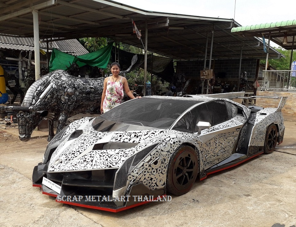 Lamborghini Veneno supercar replica from scrap metal, made in Thailand
