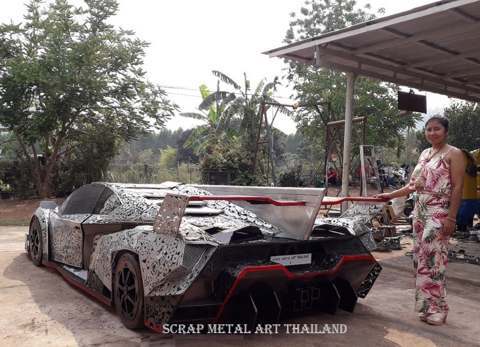 Lamborghini Veneno supercar replica from scrap metal, made in Thailand, rear view