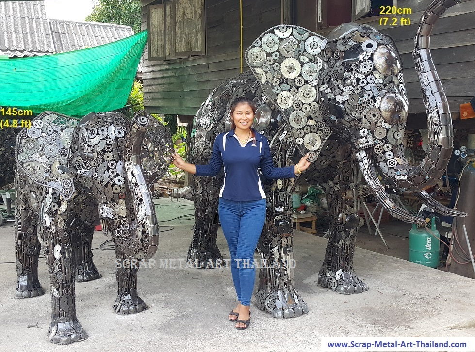 Elephant Statues Sculptures for sale, Life Size Metal Animal Yard and Garden Art from Thailand