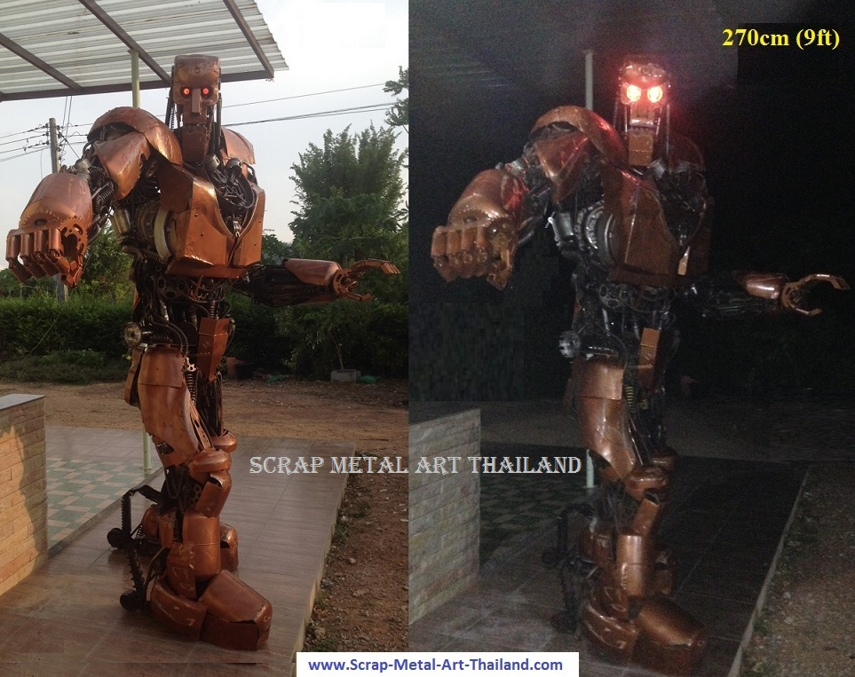 life size abc warrior judge dredd statue sculpture figure scrap metal art