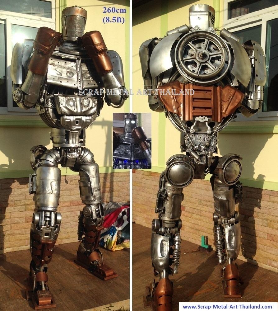life size real steel atom statue sculpture figure, scrap metal art