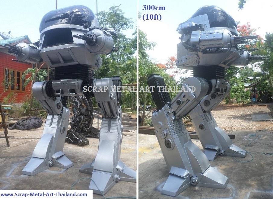 life size robocop ed209 statue sculpture figure scrap metal art