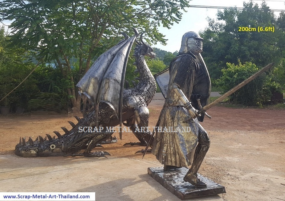 Crusader Knight statue lifesize medieval metal sculpture, with dragon, scrap metal art