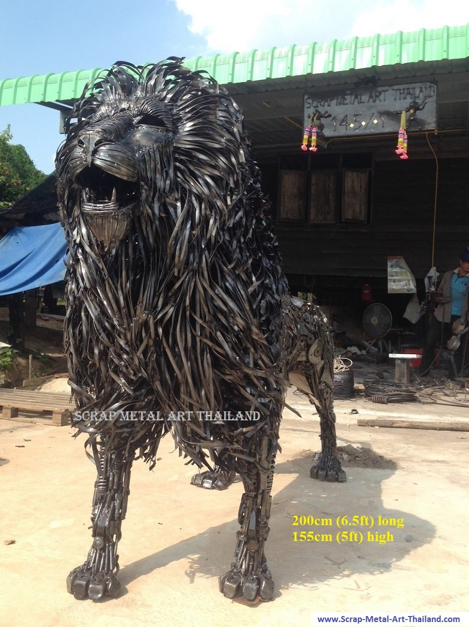 lion statue, life size recycled scrap metal art