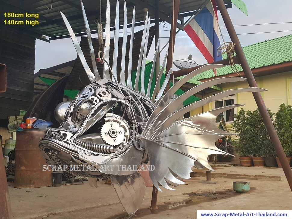 Lionfish Sculpture Statue for sale, Life Size Metal Animal Yard and Garden Art from Thailand
