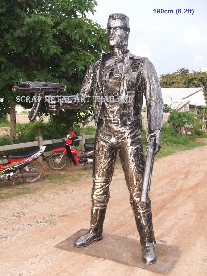 Mafia character statue  sculpture, life size  scrap metal art