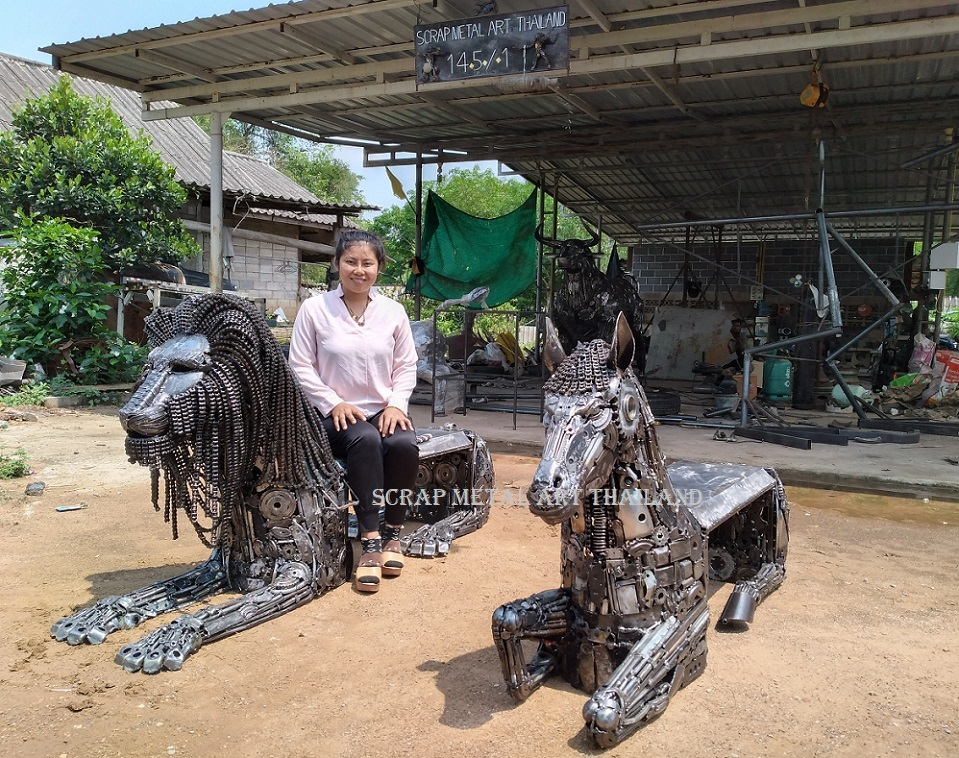 metal benches animal art indoor outdoor made in thailand for sale