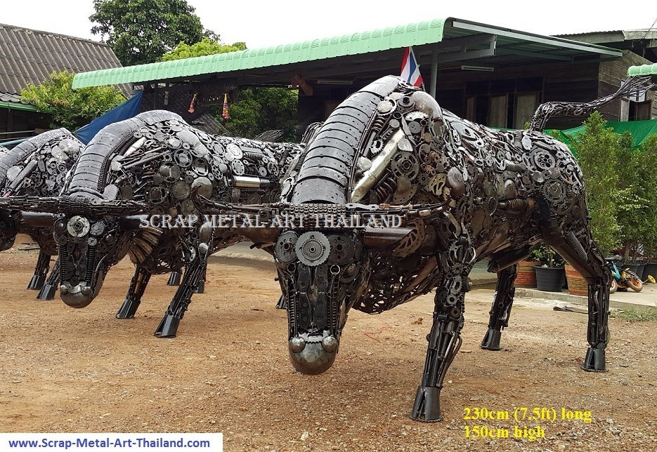 metal bull statues, lifesize bull sculptures, scrap metal art for sale