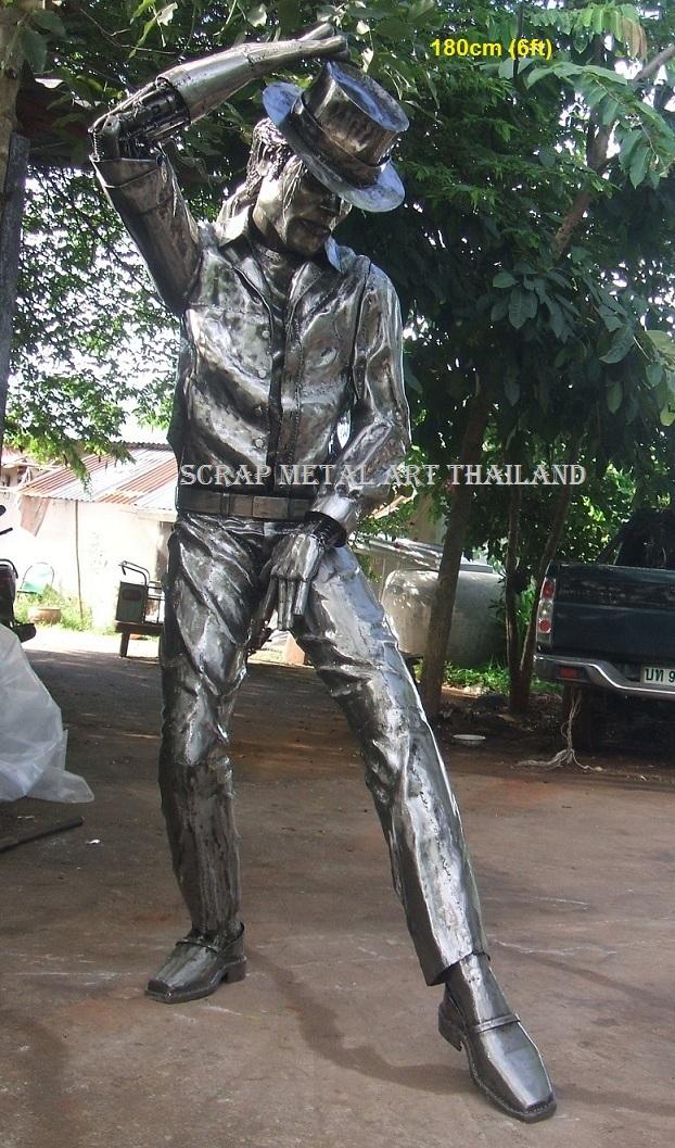 michael jackson statue sculpture scrap metal art life size