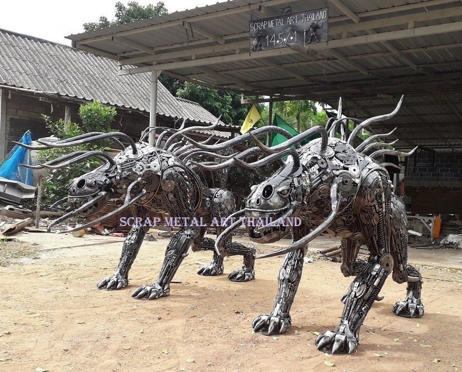Predator Dogs, Hellhounds, Figures Life Size Metal Statues Sculptures for sale Thailand