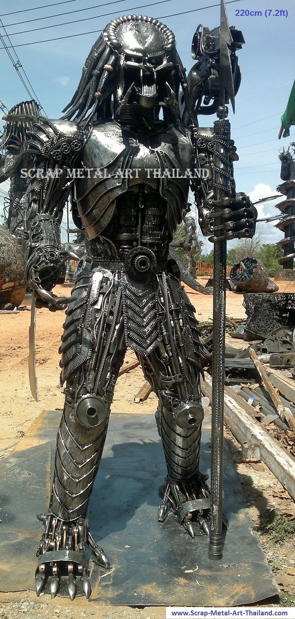 predator figure scrap metal art full life size for sale
